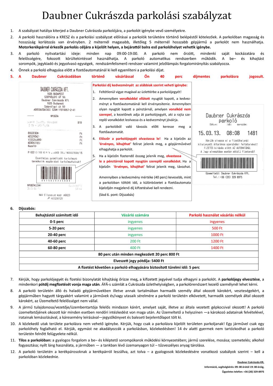 Daubner Cukrászda Parkolási Szabályzata